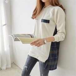 PIPPIN - Asymmetric-Hem Plaid-Panel Pullover