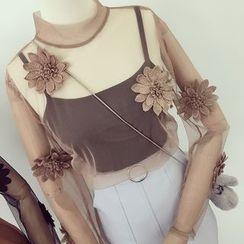 Honeydew - 套装: 长袖花形高领网纱上衣 + 吊带小背心