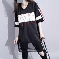 Sonne - Patchwork Embroidered V-Neck Long T-Shirt