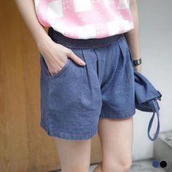 OrangeBear - 宽版仿牛仔打折后松紧短裤