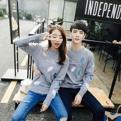 Simpair - Couple Matching Feather Embroidered Sweater