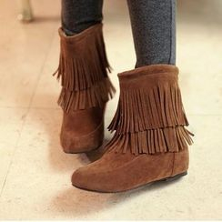 Charming Kicks - Faux Suede Fringed Hidden Wedge Boots