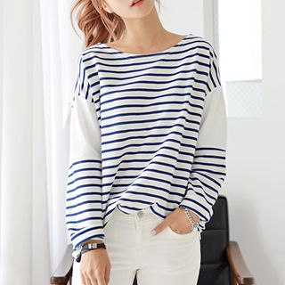 DEEPNY - Striped Long-Sleeved T-Shirt