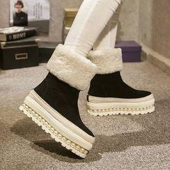 JY Shoes - Platform Fleece Short Boots
