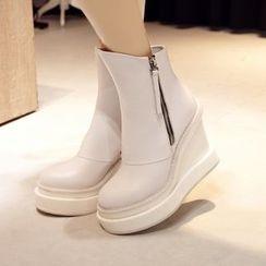 錦洋鞋業 - 厚底船跟短靴