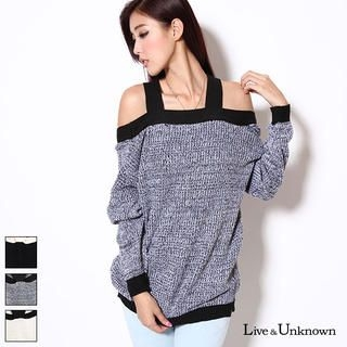 L&U - Off-Shoulder Contrast-Trim Sweater