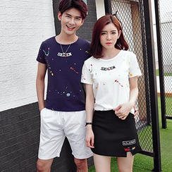 Tabula Rasa - Couple Matching Splattered T-shirt / Shorts / Skirt