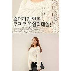 migunstyle - Round-Neck Textured-Trim Knit Top