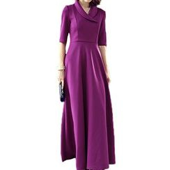 Dream a Dream - Elbow-Sleeve Knit Maxi Dress