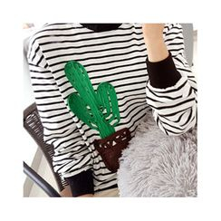 LEELIN - Cactus Appliqué Striped T-Shirt