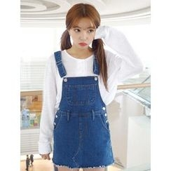VANILLA SECOND - Suspender Denim Skirt