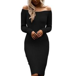 Dear Lover - Off-Shoulder Ribbed Bodycon Dress
