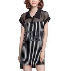 Flore - Mesh Panel Striped Shirtdress