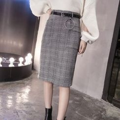 Ekim - Plaid Knit Skirt