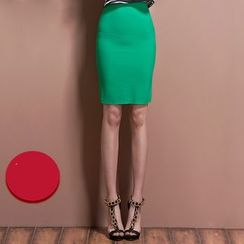Ozipan - Zip-Back Pencil-Cut Skirt