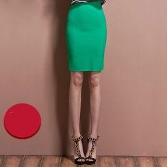 歐依潮派 - 後拉鏈鉛筆短裙