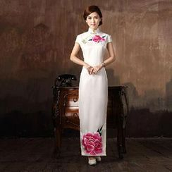 Posh Bride - Cap-Sleeve Qipao