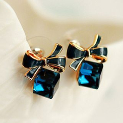 Cheermo - Bow Cubic Crystal Earrings