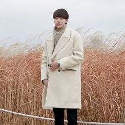 Seoul Homme - Double-Breasted Wool-Blend Coat
