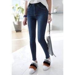 Miamasvin - Fray-Hem Washed Skinny Jeans