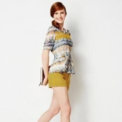 O.SA - Set: Tie-Waist Printed Top + Cuffed Shorts