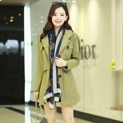 AiSun - Hooded Single-Breasted Trench Coat