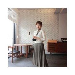LEELIN - Crewneck Wool Blend Knit Top
