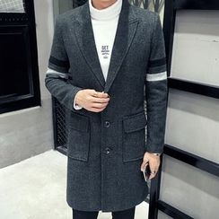 Hawoo - Contrast-Trim Button Coat
