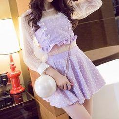 GOGO Girl - Set: Long-Sleeve Sheer Top + Heart Print Camisole Top + A-Line Skirt