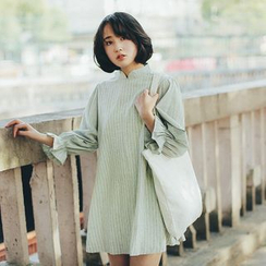 11.STREET - Striped Mandarin Collar Balloon-Sleeve Dress