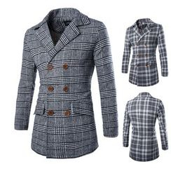 Bay Go Mall - Double-breasted Plaid Coat