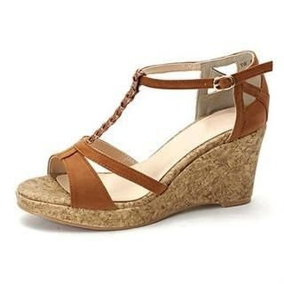 MODELSIS - Braided T-Strap Wedge Sandals