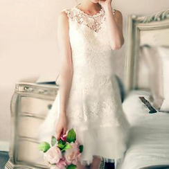 Angel Bridal - Lace Panel Party Dress
