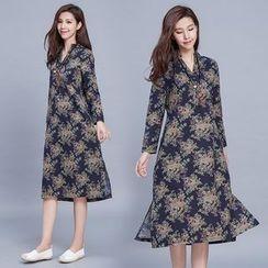 Diosa - Long-Sleeve Linen Floral Midi Dress