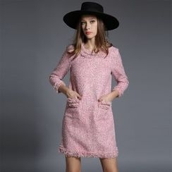 Porta - Fray Long-Sleeve Dress