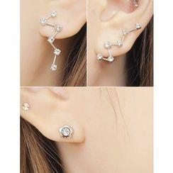 soo n soo - Rhinestone Asymmetric Earrings
