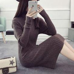 efolin - Turtleneck Rib Knit Dress
