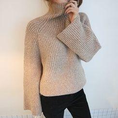 DABAGIRL - Turtle-Neck Wide-Sleeve Sweater