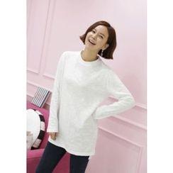 Lemite - Round-Neck Plain Long T-Shirt
