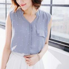 Tokyo Fashion - Dotted Sleeveless Chiffon Blouse