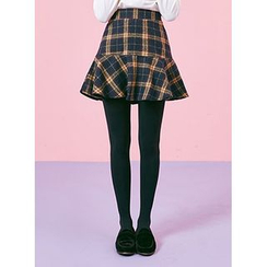 icecream12 - Check Ruffle A-Line Mini Skirt