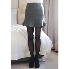 MyFiona - Ruffle-Hem Wool Blend Mini Skirt