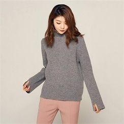 MAGJAY - Wool Blend Slit-Detail Knit Top