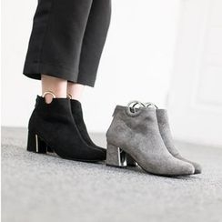 VIVIER - Metallic-Detail Faux-Suede Booties