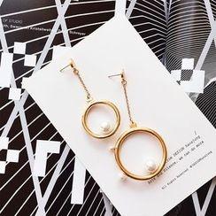 ChuChuAcc - Non-Matching Ring Faux-Pearl Long Earrings