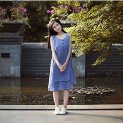 蘭芝 - 純色無袖連衣裙