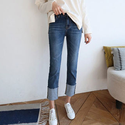 Hello sweety - Cuffed-Hem Straight-Cut Jeans