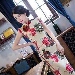 Janelle Qipao - Floral Print Cap-Sleeve Maxi Cheongsam