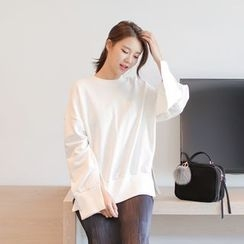 WITH IPUN - Slit-Detail Loose-Fit Sweatshirt
