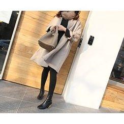 MARSHMALLOW - Wool Blend 3/4-Sleeve Coat
